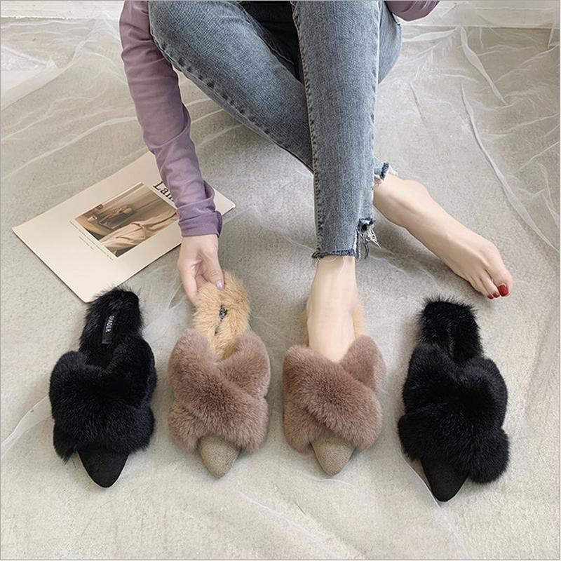ファーサンダルミュール靴